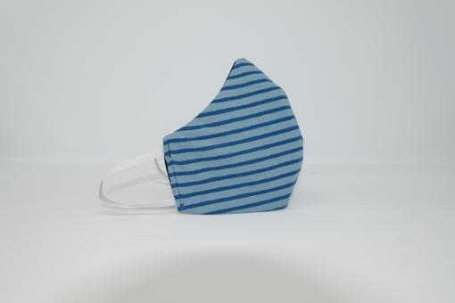Mund-Nasen-Maske mit Hightech-Faser Motiv Streifen blau